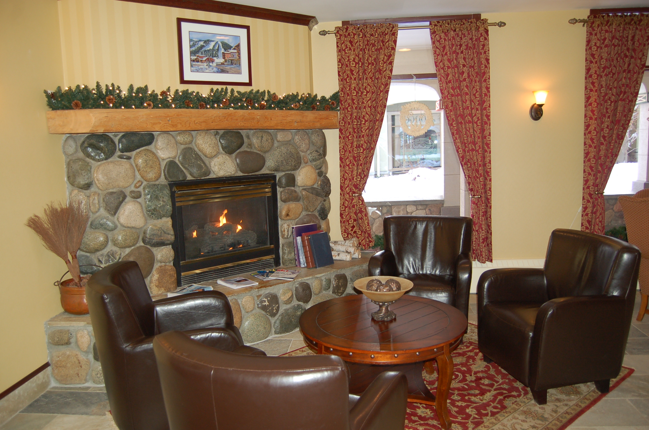 Interior sun peaks lodge for Area in front of fireplace